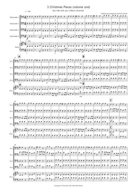 3 Easy Christmas Pieces for Cello Quartet