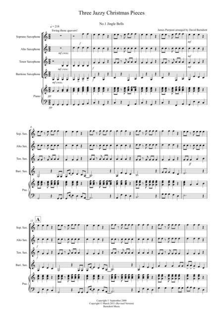 3 Jazzy Christmas Pieces for Saxophone Quartet