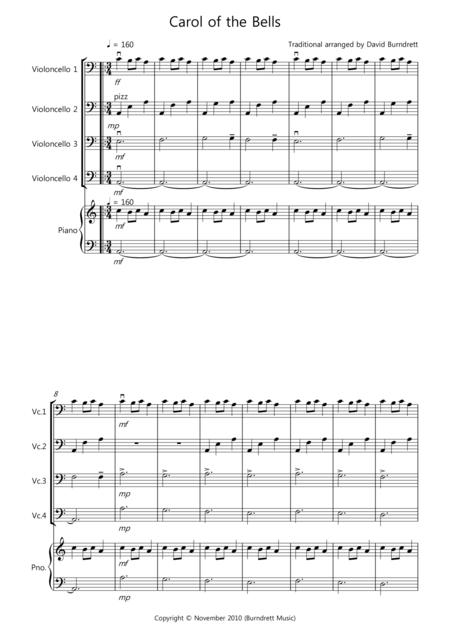 Carol of the Bells for Cello Quartet