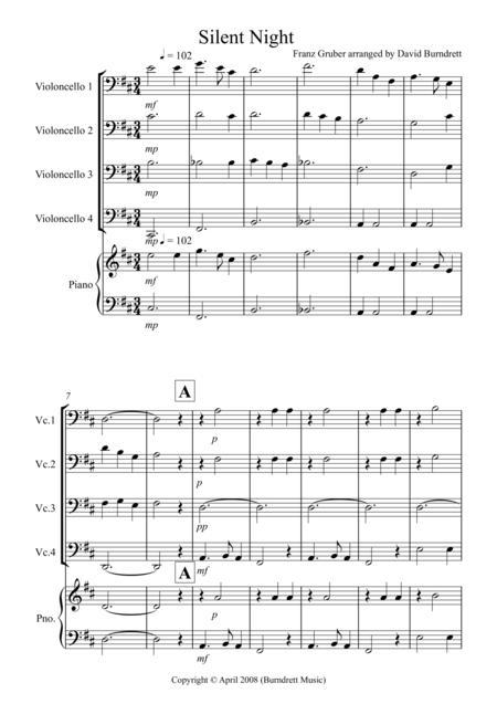 Silent Night for Cello Quartet
