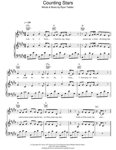 Download Counting Stars Sheet Music By Ryan Tedder Sheet Music Plus