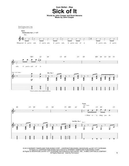 Download Sick Of It Sheet Music By Skillet - Sheet Music Plus