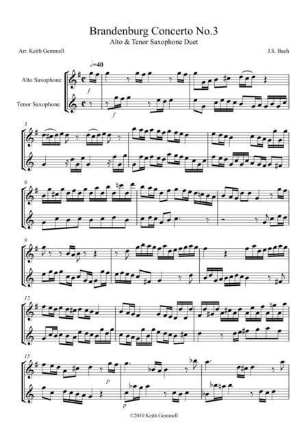 Brandenburg Concerto No. 3: Alto & Tenor Saxophone Duet