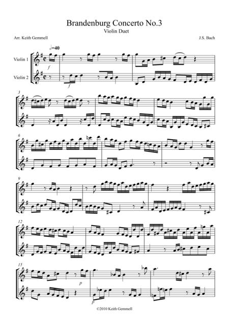 Brandenburg Concerto No. 3: Violin Duet