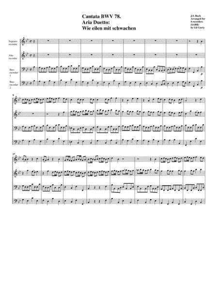 Wie eilen mit schwachen from cantata BWV 78 (arrangement for 4 recorders)