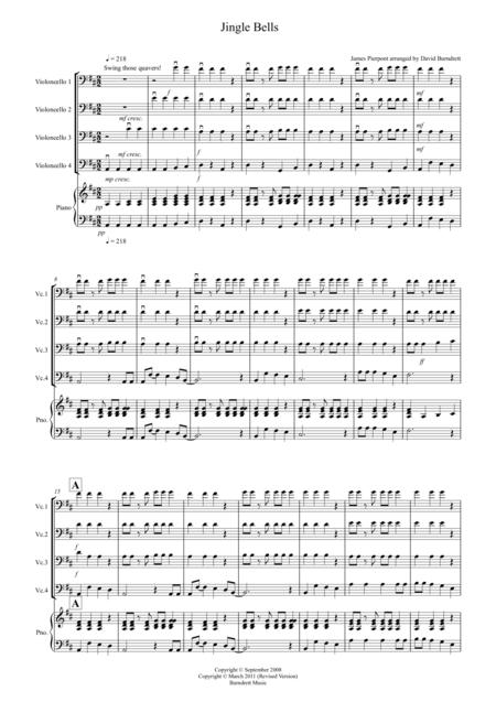 Jingle Bells (Jazzy Style!) for Cello Quartet
