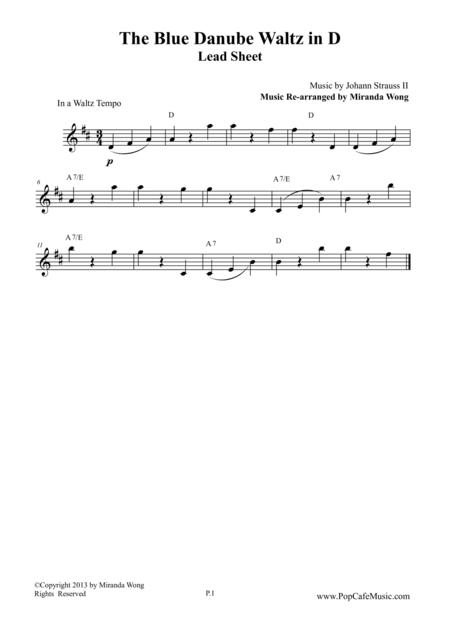 The Blue Danube Waltz in D Key - Lead Sheet