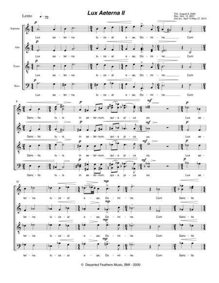 Lux Aeterna II (2000-2010) for SATB a cappella chorus