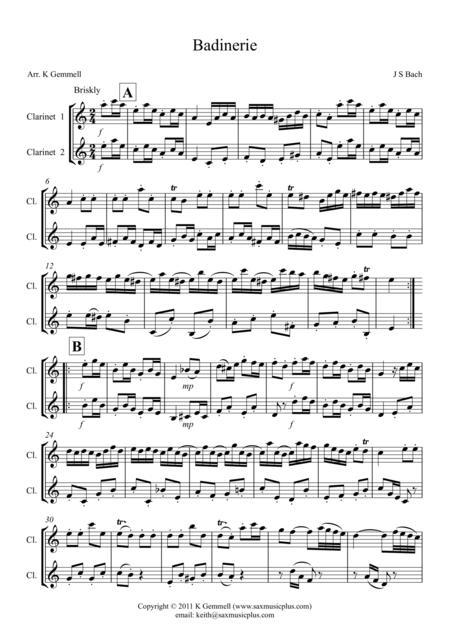 Badinerie – Duet: Clarinets