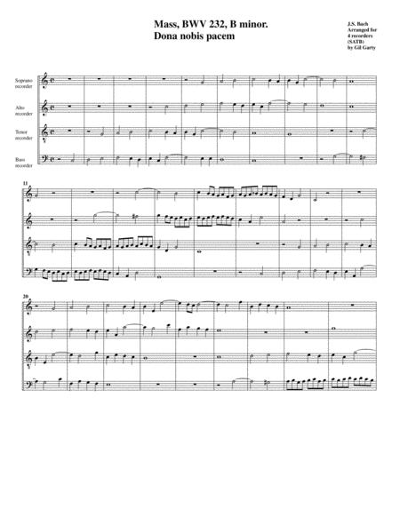 Dona nobis pacem from Mass BWV 232 (arrangement for 4 recorders)