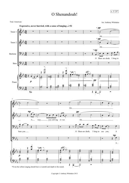 O Shenandoah! (TTBB and Piano)
