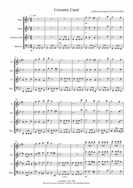 Coventry Carol for Wind Quartet
