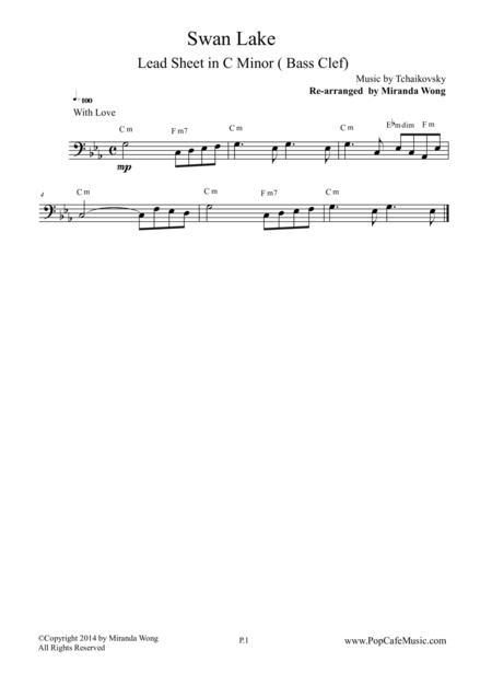 Swan Lake - Cello Solo in C Minor (Bass Clef) - Most Romantic Theme