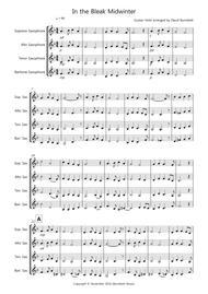 In the Bleak Midwinter for Saxophone Quartet