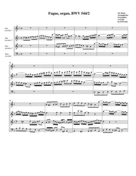 Fugue for organ, BWV 544/II (Arrangement for 4 recorders)