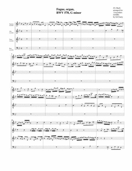 Fugue for organ, BWV 578 (Arrangement for 4 recorders)