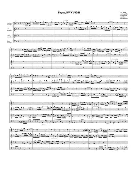 Fugue for organ, BWV 542/II (Arrangement for 4 recorders)
