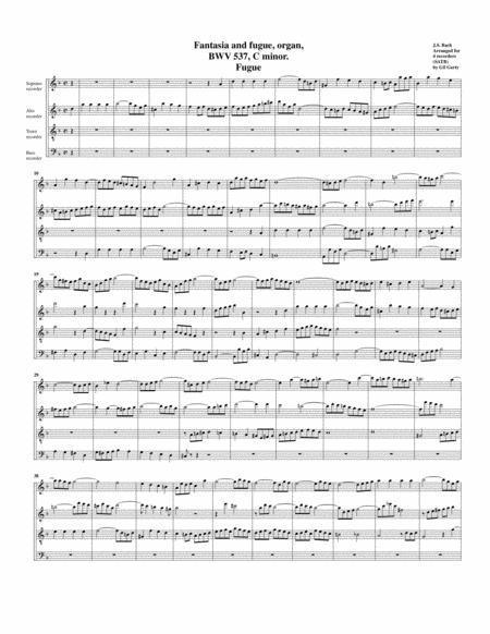 Fugue for organ, BWV 537/II (Arrangement for 4 recorders)