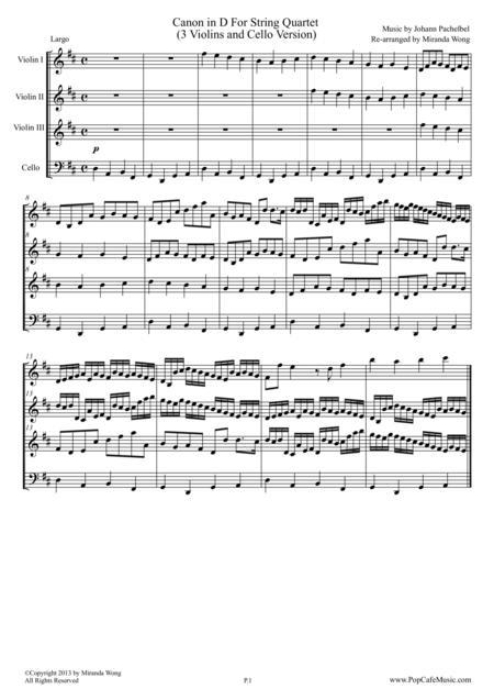 Download Canon In D   String Quartet (3 Violins & Cello)   Wedding