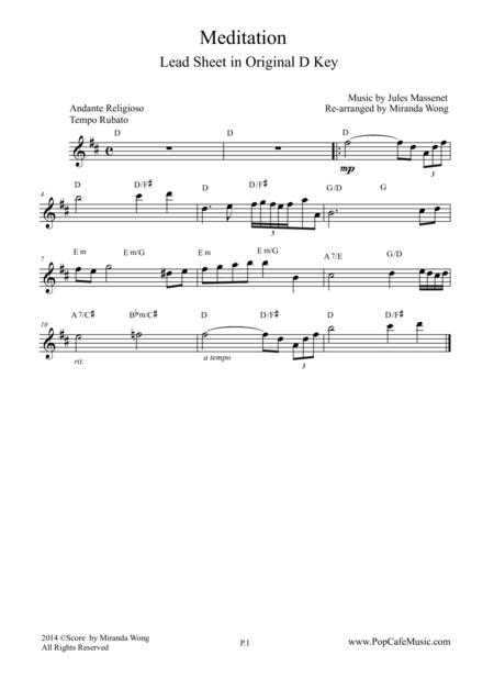 Meditation (from Thais) - Violin Solo in D Key