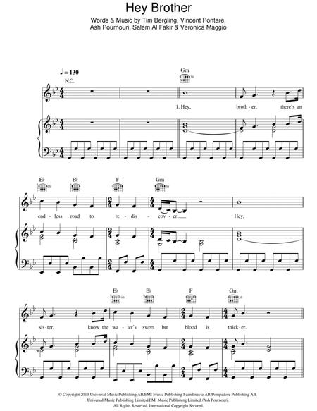 Download Hey Brother Sheet Music By Avicii - Sheet Music Plus