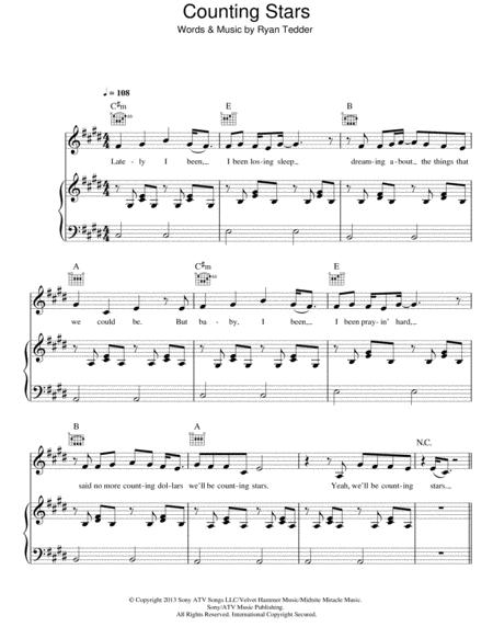 Download Counting Stars Sheet Music By Ryan Tedder Sheet Music Plus