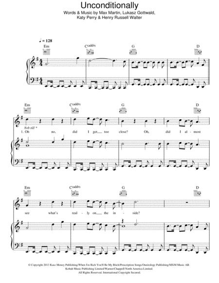 Download Unconditionally Sheet Music By Katy Perry - Sheet Music Plus