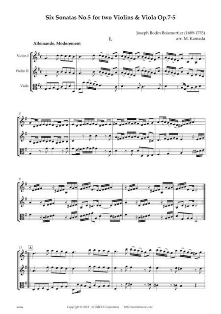 Six Sonatas No.5 for two Violins & Viola Op.7-5