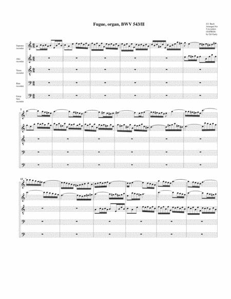 Fugue for organ, BWV 543/II (arrangement for 5 recorders)