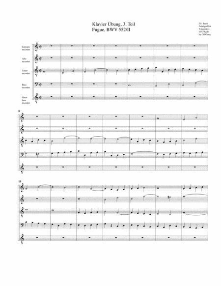 Fugue for organ, BWV 552/II from Klavier Uebung, III. Teil