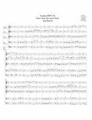Coro: Nun lob', mein Seel' den Herren from Cantata BWV 28 (arrangement for 5 recorders)