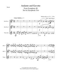 Andante and Gavotte by William Boyce for Saxophone Trio