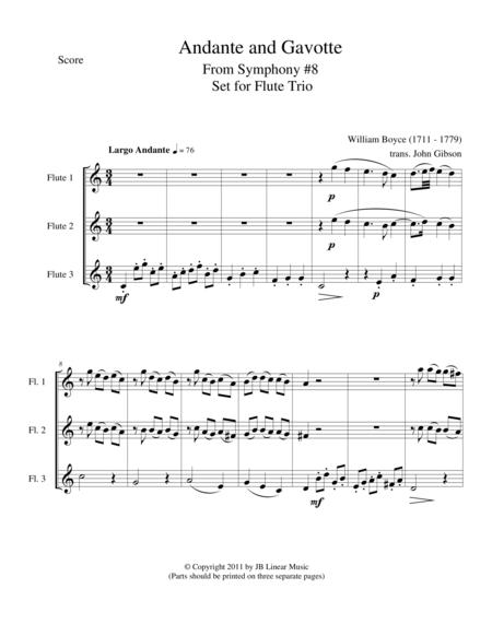 Andante and Gavotte by William Boyce for Flute Trio