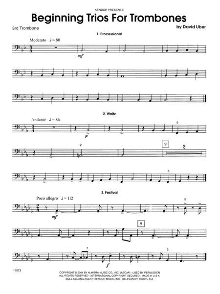 Beginning Trios For Trombones - 3rd Trombone