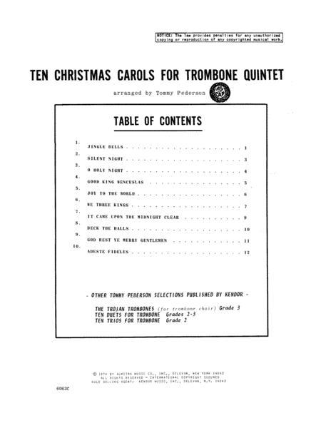 Ten Christmas Carols For Trombone Quintet - 2nd Trombone