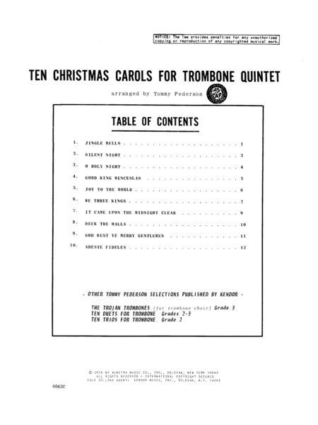 Ten Christmas Carols For Trombone Quintet - 4th Trombone