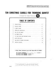 Ten Christmas Carols For Trombone Quintet - Bass Trombone