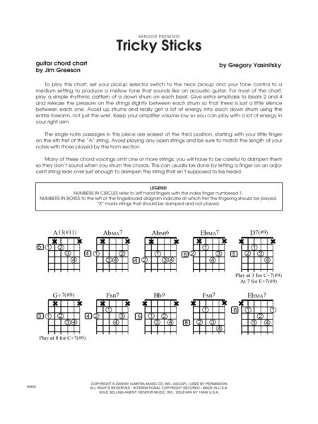 Download Tricky Sticks - Guitar Chord Chart Sheet Music By Greg ...