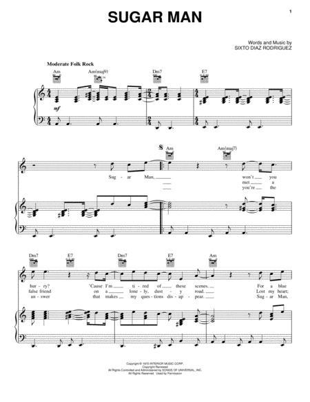 Download Sugar Man Sheet Music By Rodriguez Sheet Music Plus