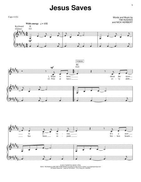 Download Jesus Saves Sheet Music By Tim Hughes Sheet Music Plus