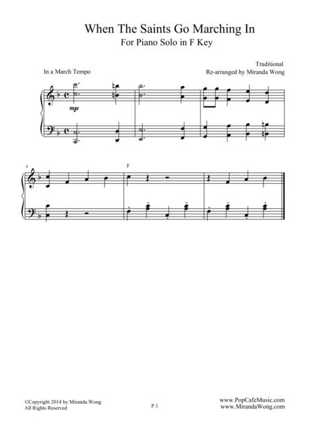 When The Saints Go Marching in - Classical Piano Solo in F Key