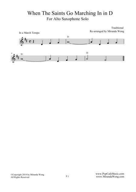 When The Saints Go Marching In  - Alto Saxophone Solo (D Key)