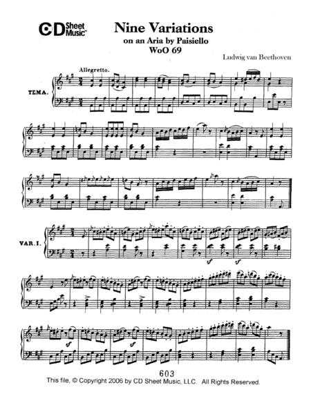 Variations (9) On An Aria By Paisiello, Woo 69