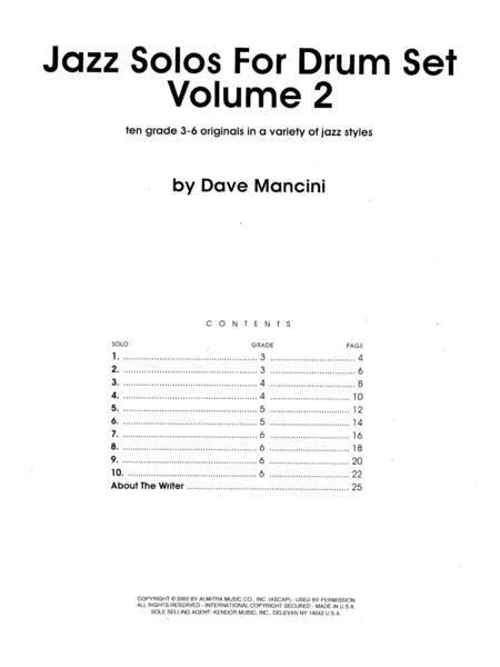 Jazz Solos For Drum Set, Volume 2