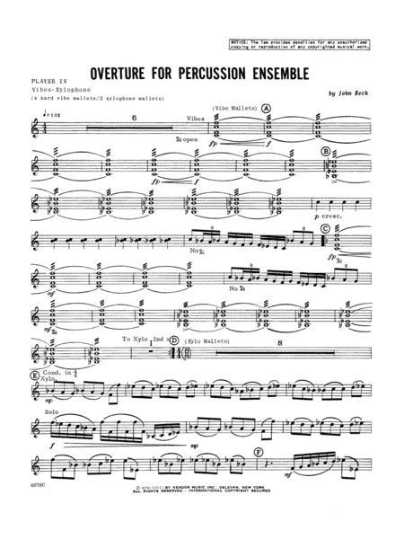 Overture For Percussion Ensemble - Percussion 4
