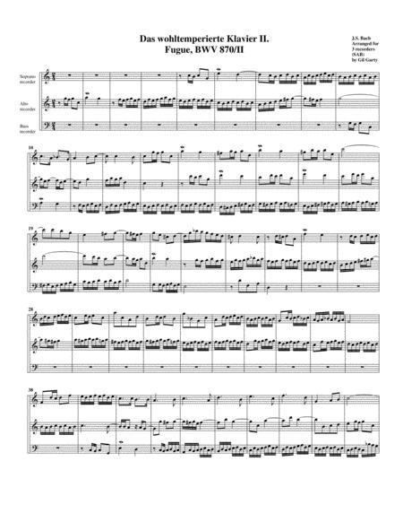 Fugue from Das wohltemperierte Klavier II, BWV 870/II