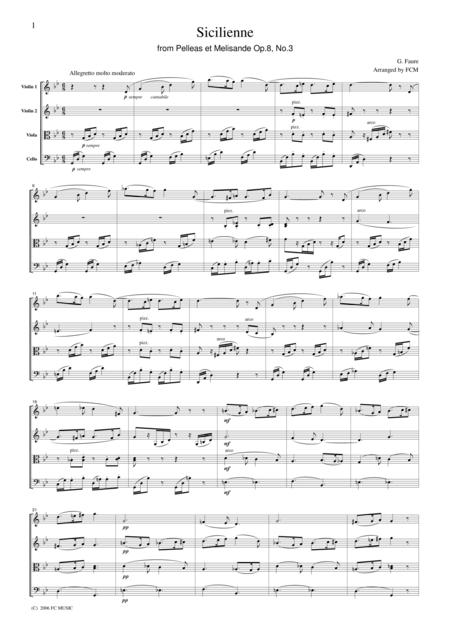 Faure  Sicilienne from Pelleas et Melisande Op.8, No.3, for string quartet, CF104