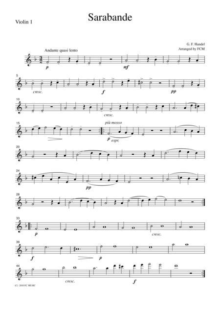 Handel  Sarabande, for string quartet, CH109