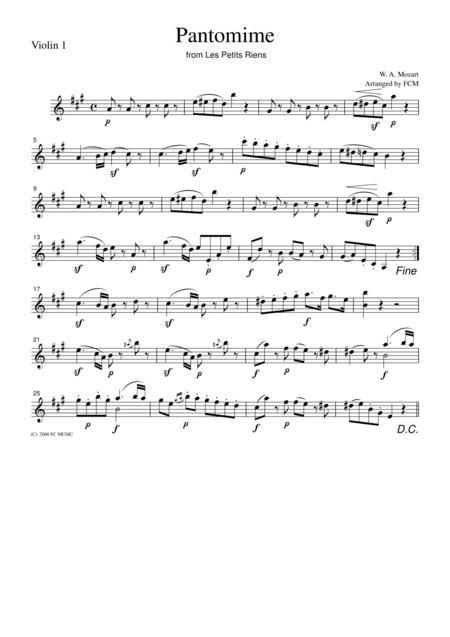 Mozart  Pantomime from Les Petits Riens, for string quartet, CM016