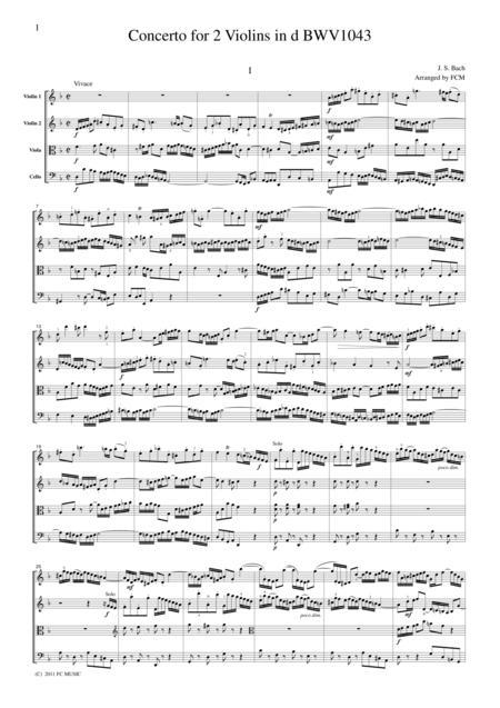 J.S.Bach  Concerto for 2 Violins in d BWV1043, for string quartet, CB224
